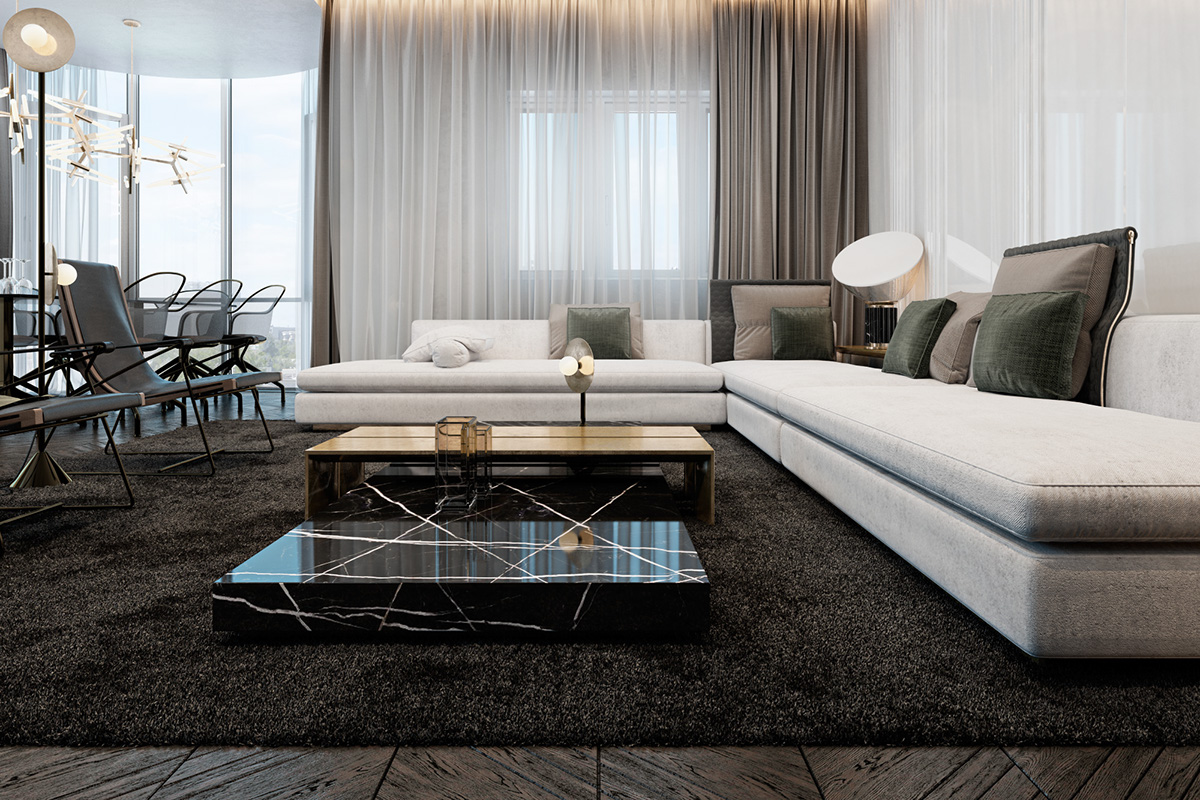 modern nappali és nappali bútorok letisztult és egyszerű stílusban - szőnyeg és a minimalista kanapé