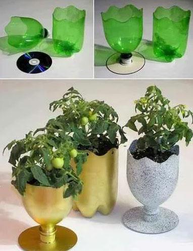 pet palack és pet kupak újrahasznosítás - cd és műanyag flakonból készült virágtartó cserép