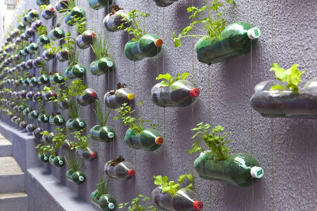 pet palack és pet kupak újrahasznosítás - függőleges kert és virágtartó