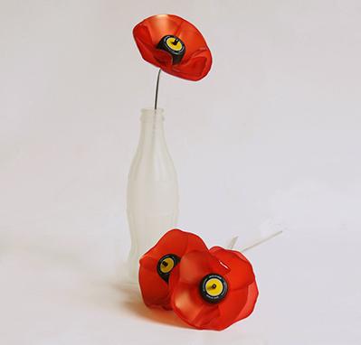 pet palack és pet kupak újrahasznosítás - virág és váza dekoráció