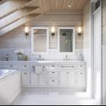 rusztikus provence stílusú lakás konyha tetőtéri fürdőszoba