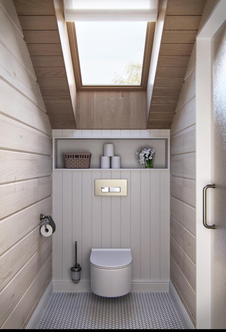 rusztikus provence stílusú lakás konyha tetőtéri mosdó wc
