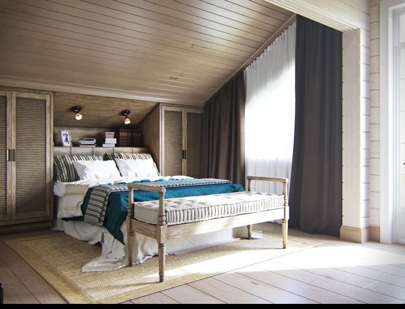 rusztikus provence stílus lakás konyha tetőtéri vendégszoba