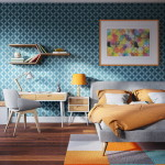 színes tapéta és a hálószoba fal