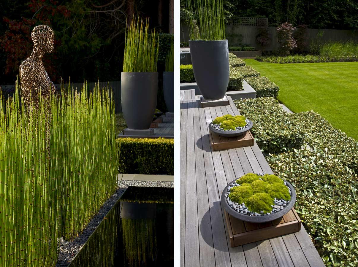 Modern kert kertépítés szögletes formákkal