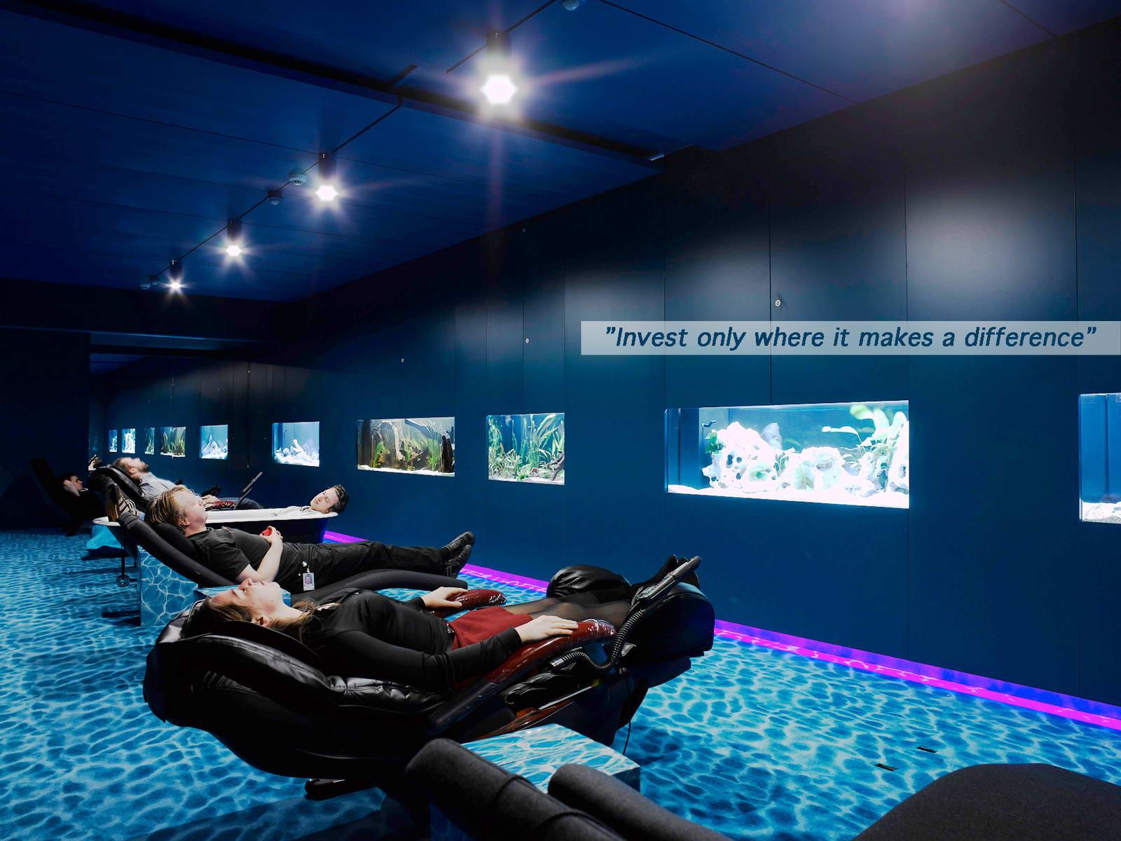 irodai relax szoba akváriummal