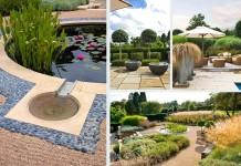 modern kert kertépítés - szigetek - fa és víz