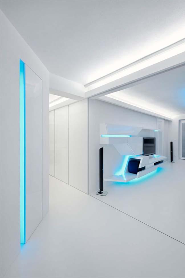 futurisztikus fehér lakás közlekedő