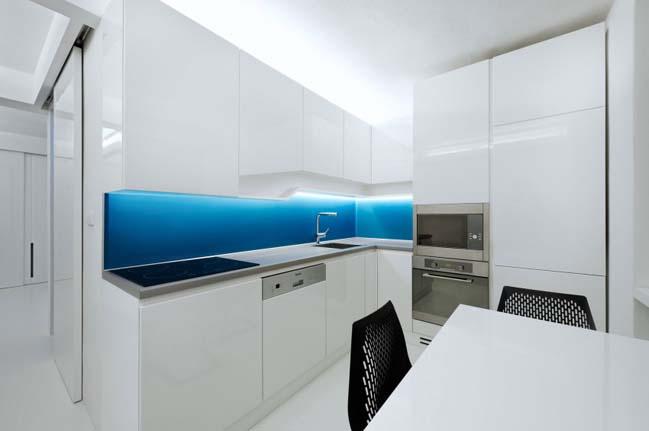 futurisztikus fehér lakás konyha