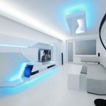 futurisztikus fehér lakás nappali