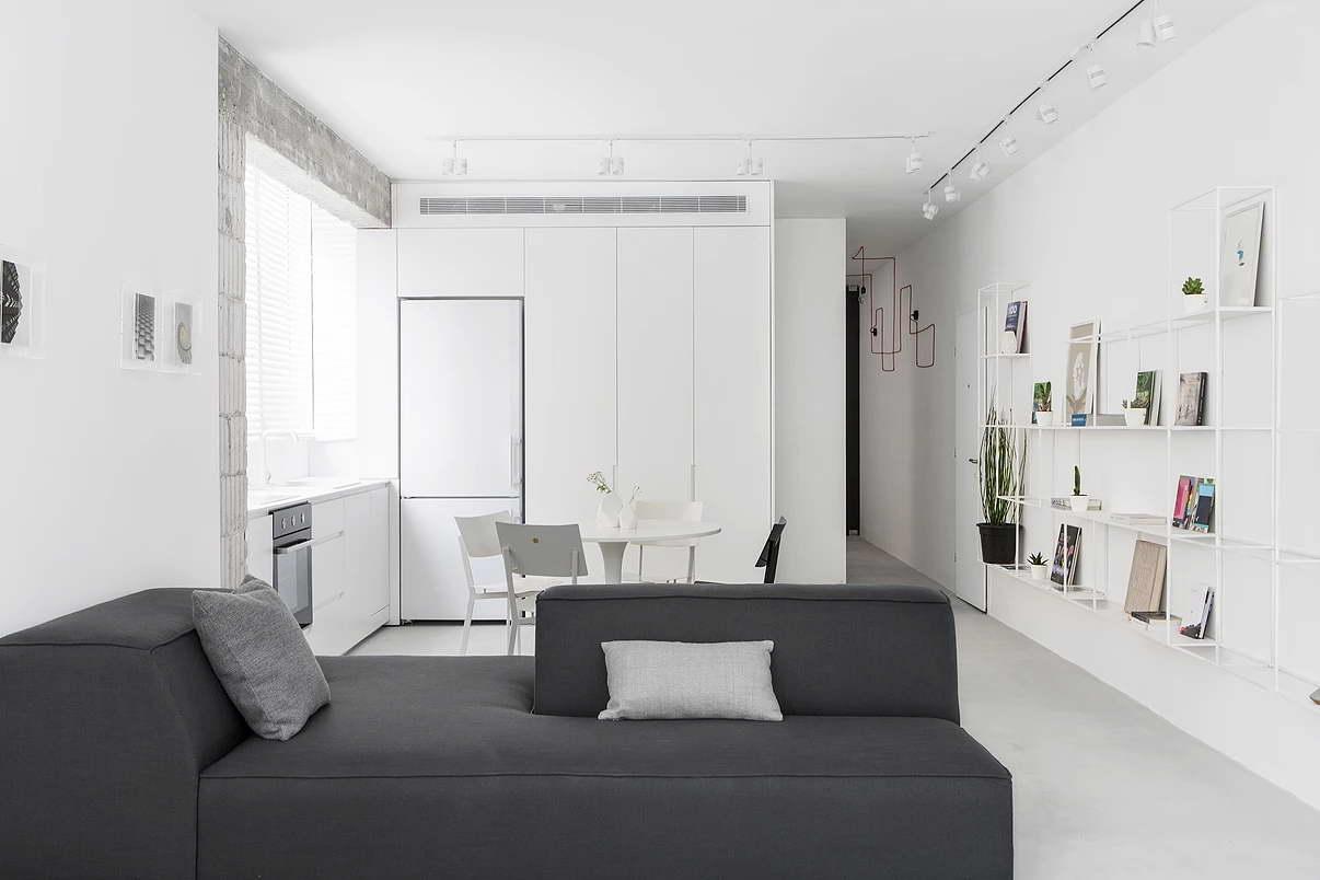 Kis fehér lakás nappali és konyha