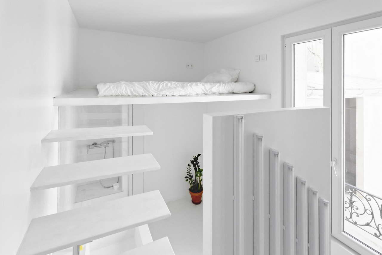 Mini lakás fehérben galéria és hálószoba