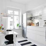 Skandináv fehér lakás konyha