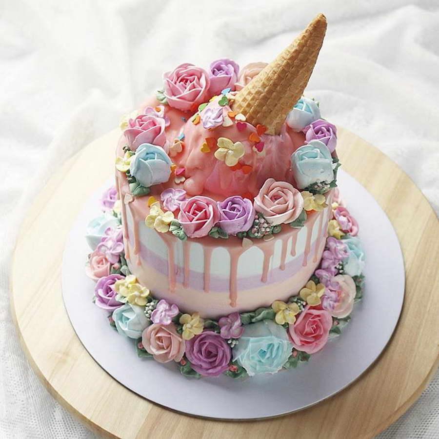 kézműves virág torta, kreatív - fagyi torta