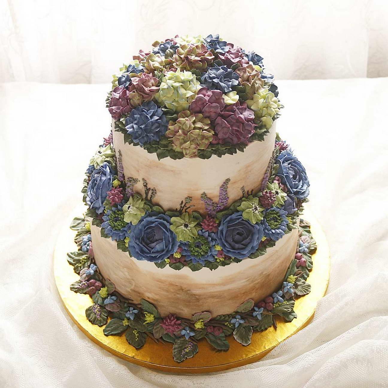 kézműves virág torta, kreatív - 3 emeletes