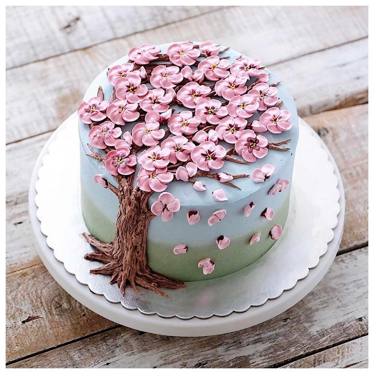 kézműves virág torta, kreatív - cseresznyefa