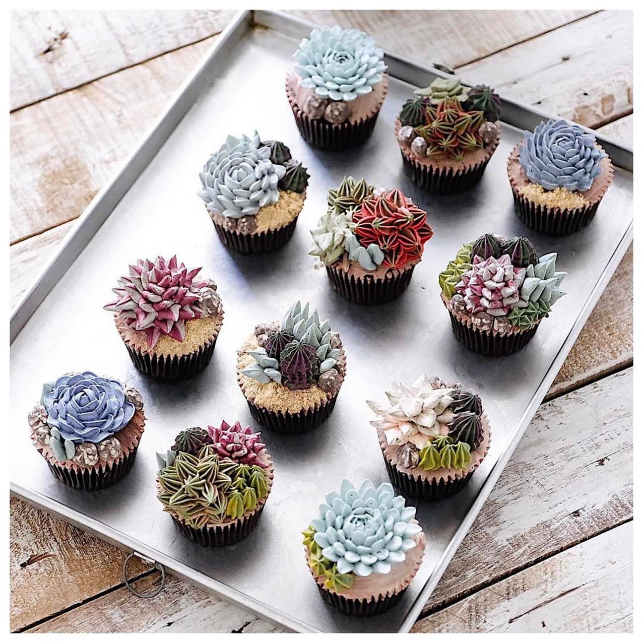 kézműves virág torta, kreatív - kaktusz muffin
