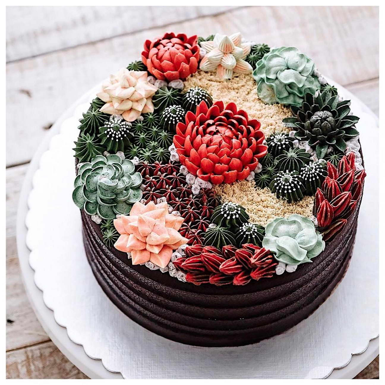 kézműves virág torta, kreatív - kaktusz