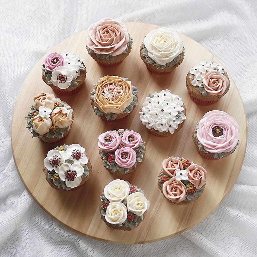 kézműves virág torta, kreatív - virág muffin