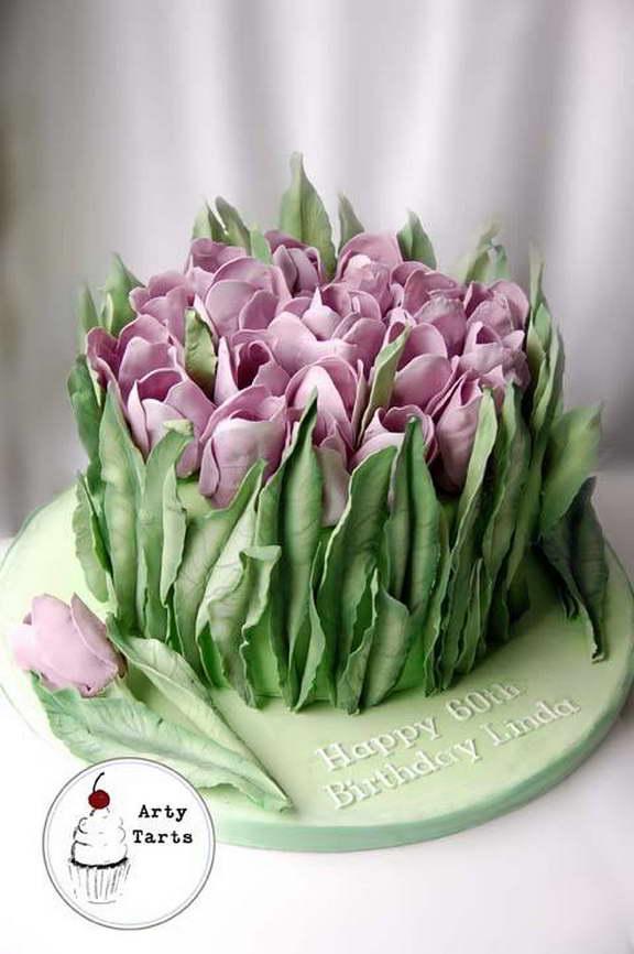 kézműves virág torta, kreatív - tulipán