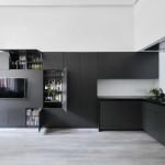 kis lakás berendezése - nappali beépített szekrény