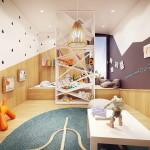 kontrasztos geometrikus fiú szoba