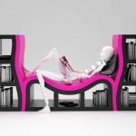 modern könyvespolc - kanapéval