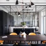 modern lakás - régi - új dizájn - nappali - étkező