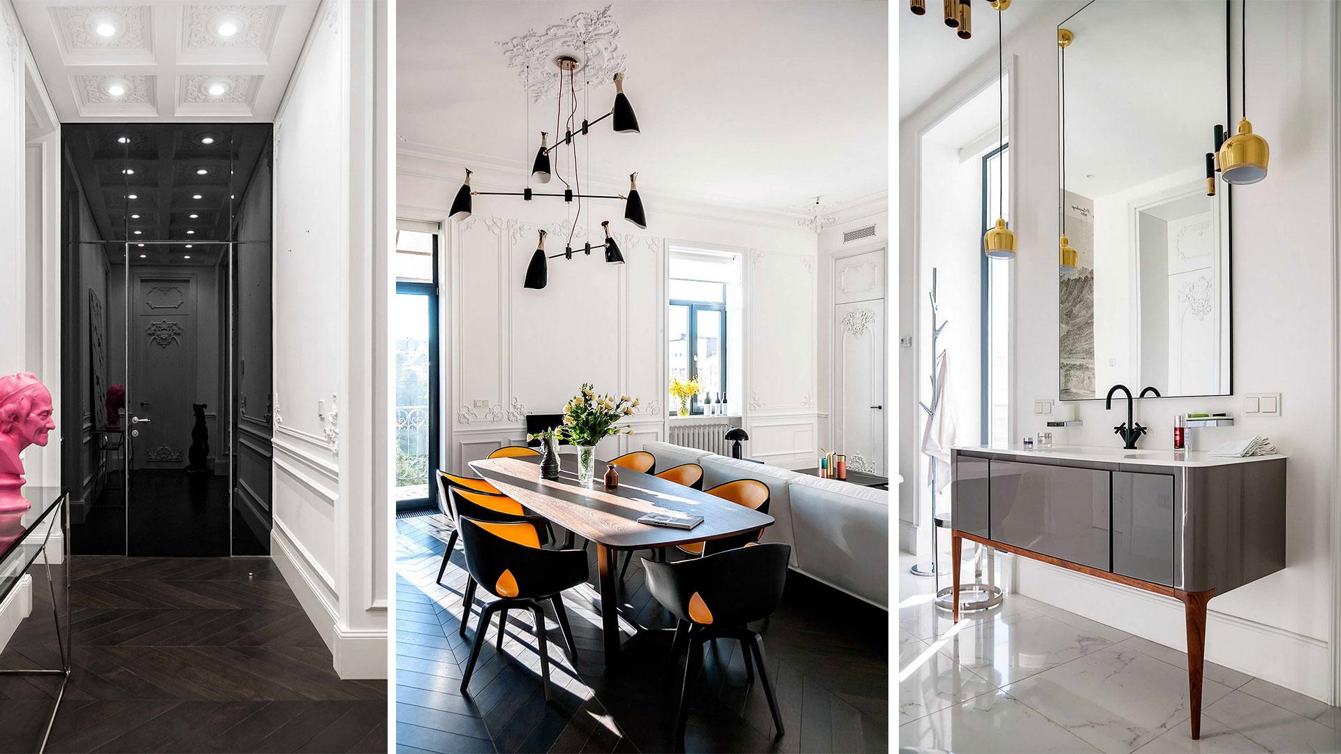 modern lakás - régi - új dizájn