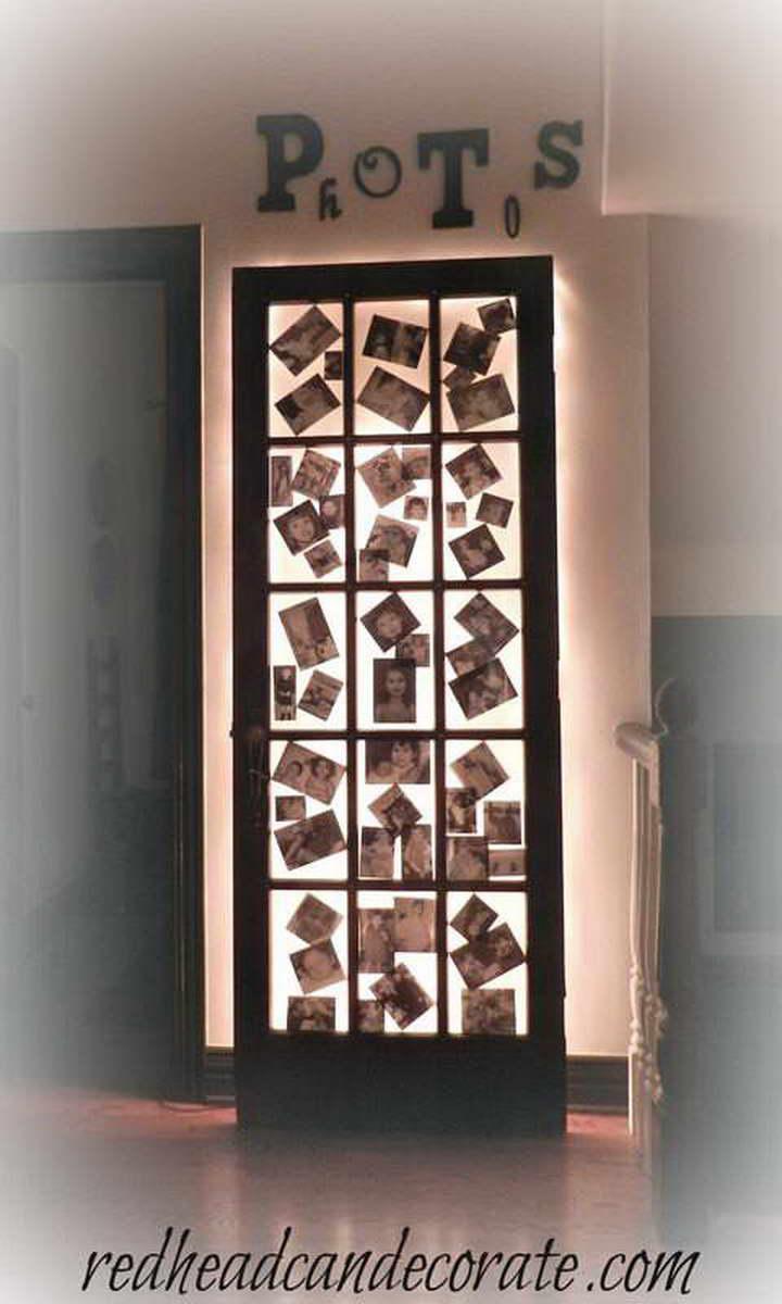 régi-ajtó-kreatív-újrahasznosítás - világító képkeret