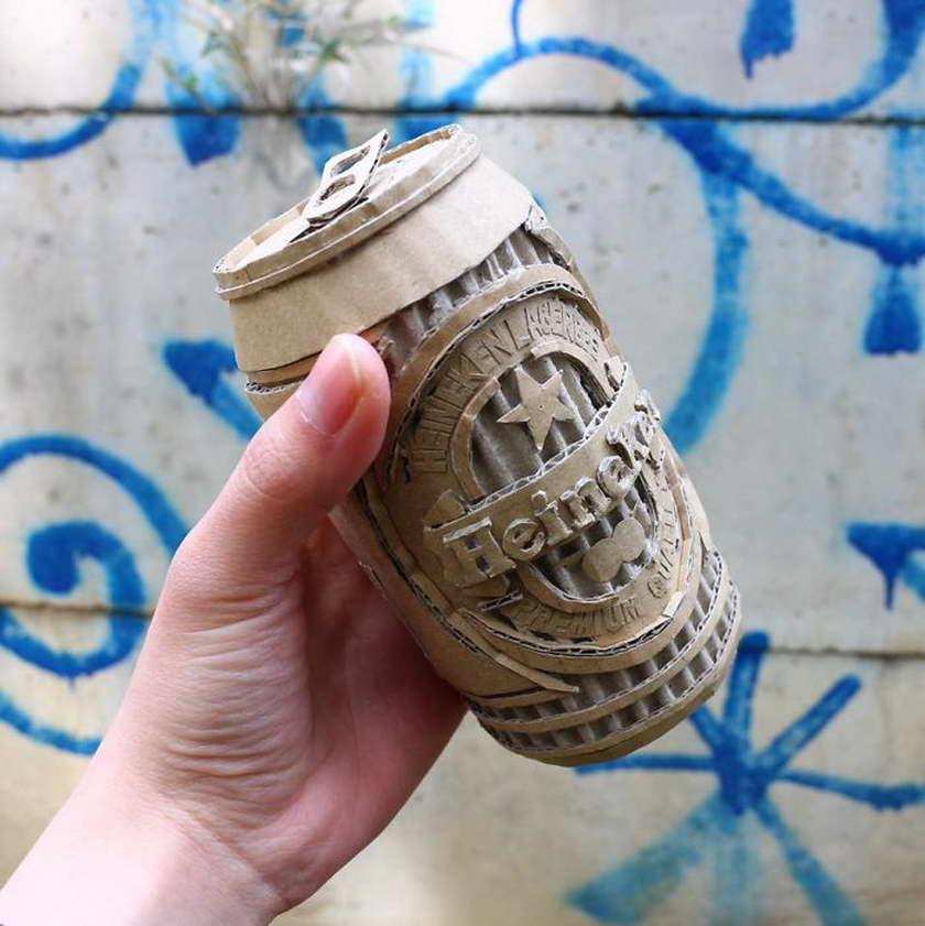 régi papírdobozok újrahasznosítása - Heineken sörösdoboz