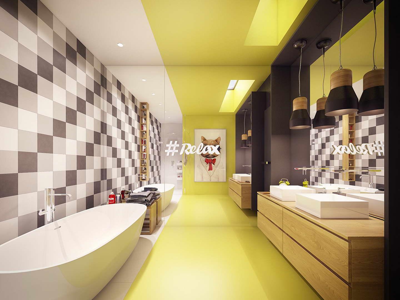 vidám családi fürdőszoba - szép ház