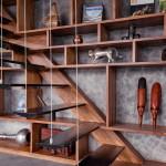 szabadtéri konyha a város tetején - fa lépcső
