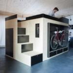 2 design hálószoba, dizájn kocka - lépcső és bicikli tároló