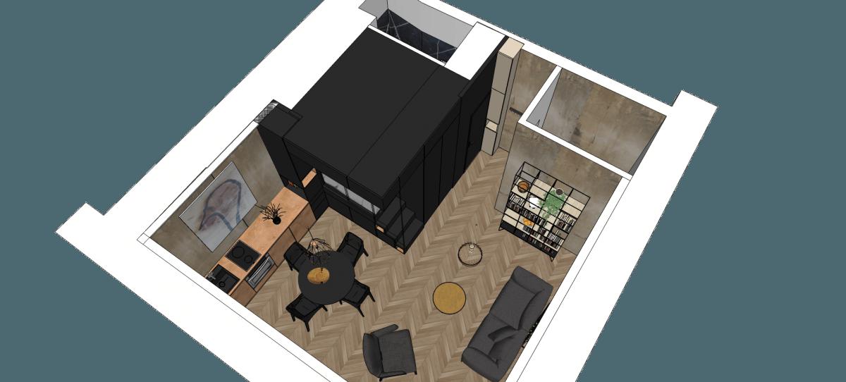 design hálószoba, dizájn kocka - alaprajz