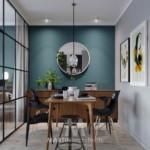 hálószoba a nappaliban étkező