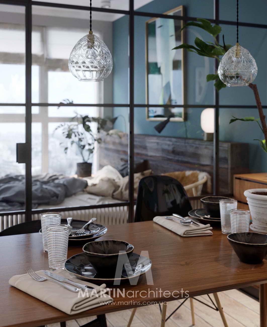 hálószoba a nappaliban üvegkalitából