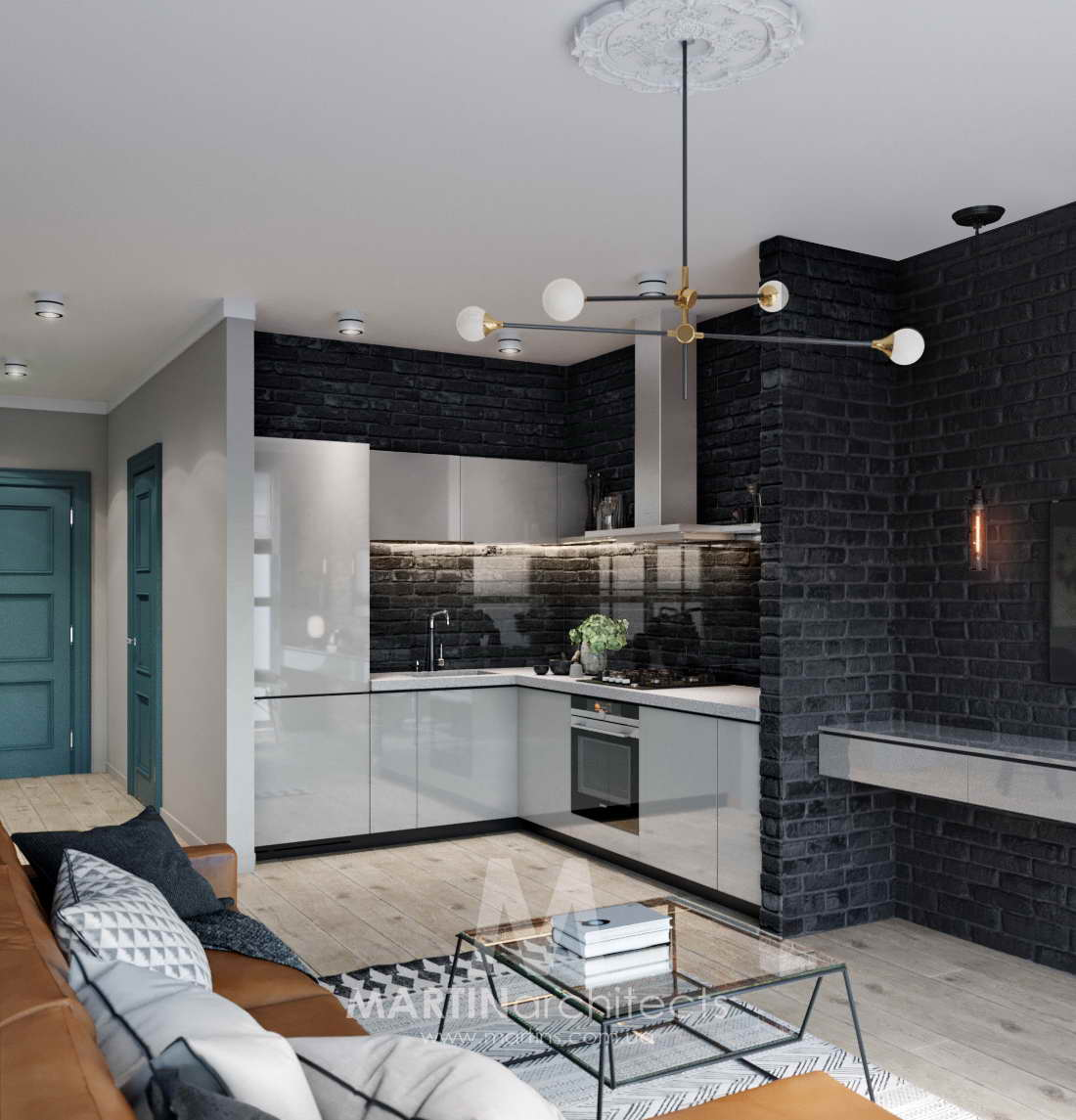 hálószoba a nappaliban konyha