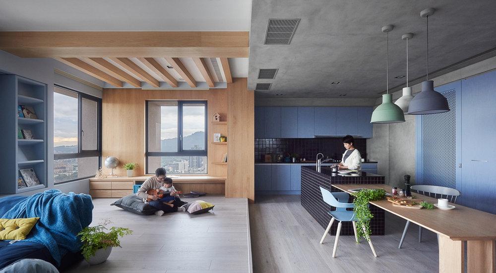 játékos és színes lakás - nappali konyha