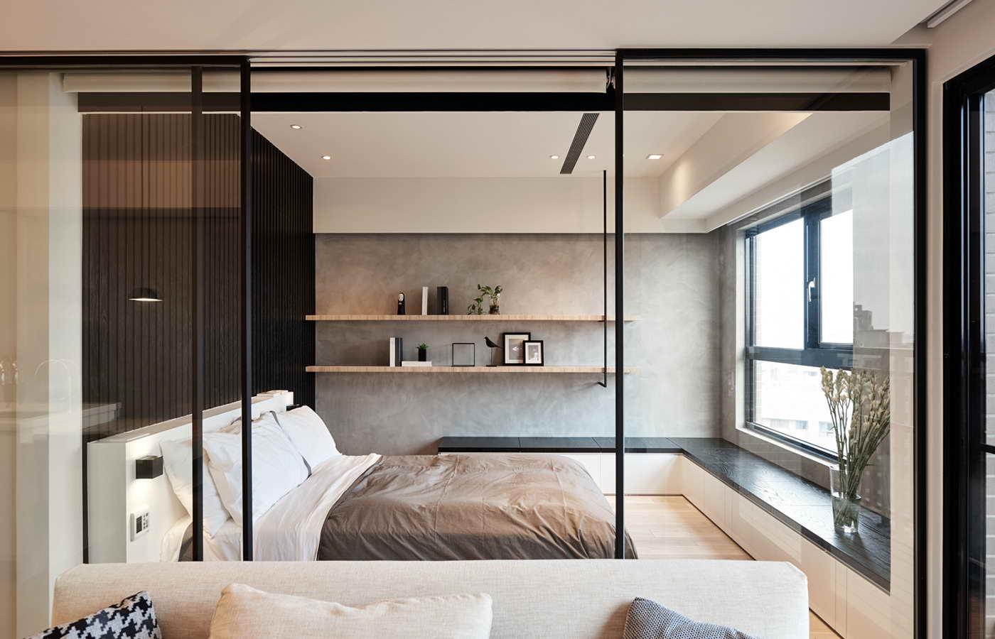 kis lakás elhúzható üveg fal és ajtó