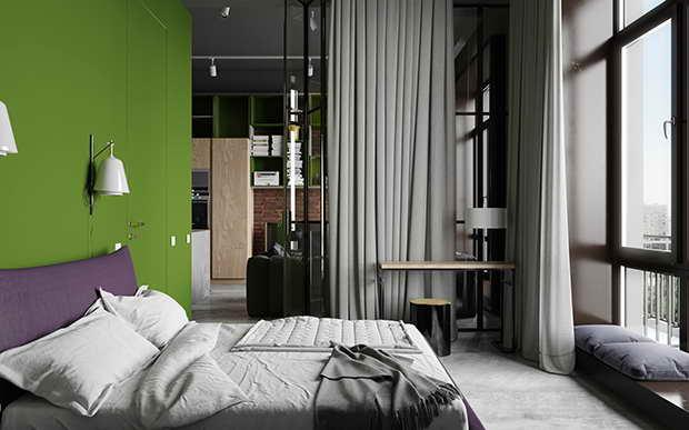 kis lakás üveg térelválasztó fal