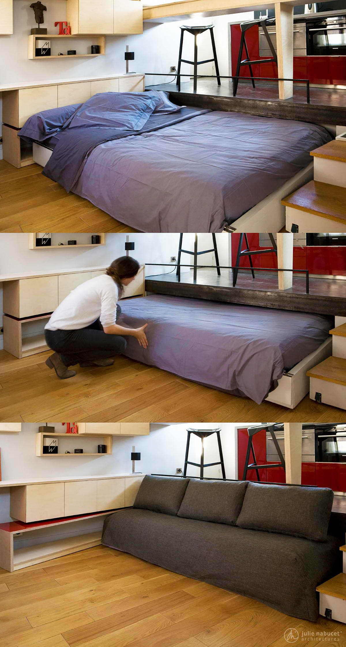 kis lakás dobogóba rejtett ágy kanapé
