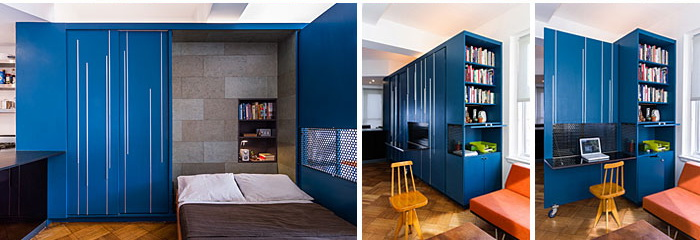 kis lakás erős színekkel és multifunkciós bútorral