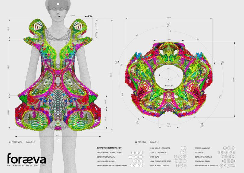 3d high tech ruha Swarovski kristályokból