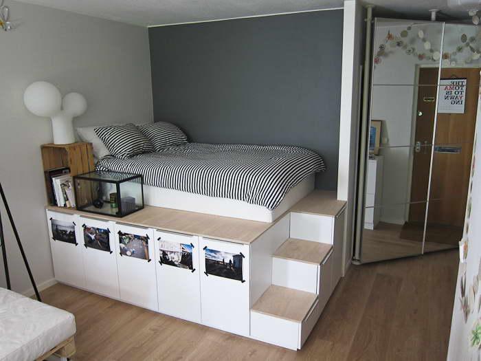 ágy készítés DIY kreatív - dobogó és óriás tároló