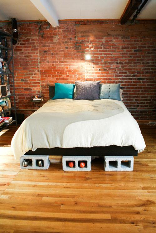ágy készítés DIY kreatív - ágykeret beton tégla, zsalukő
