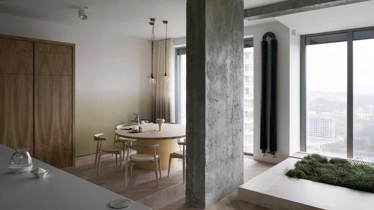 belső kert, színes lakás - étkező