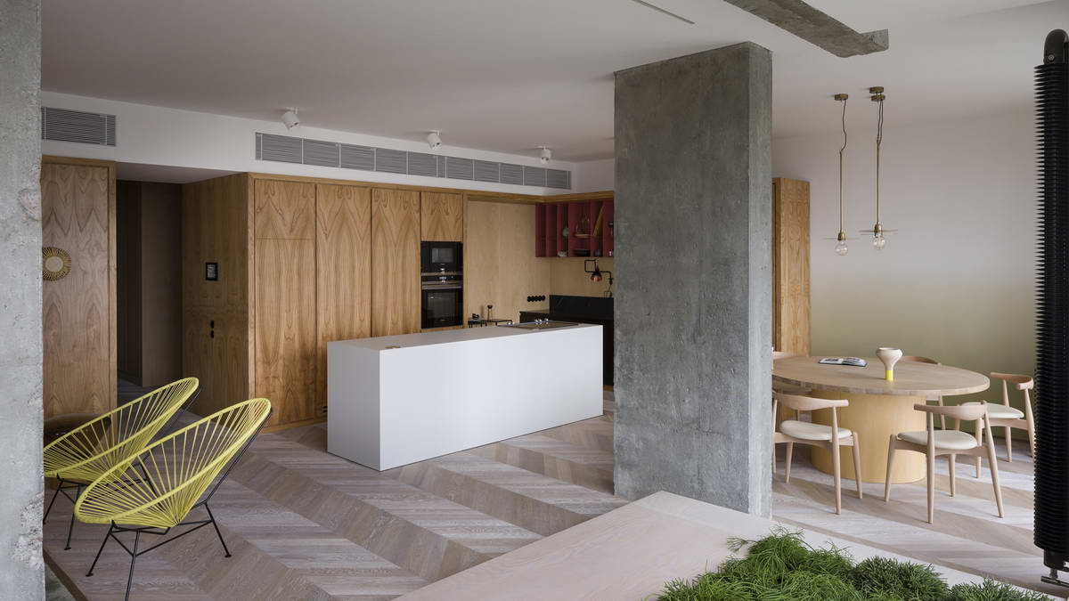 belső kert, színes lakás - konyha étkező
