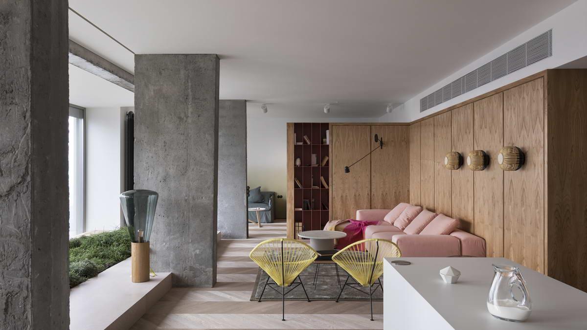 belső kert, színes lakás - nappali design szék