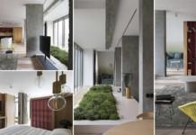 belső kert, színes lakás